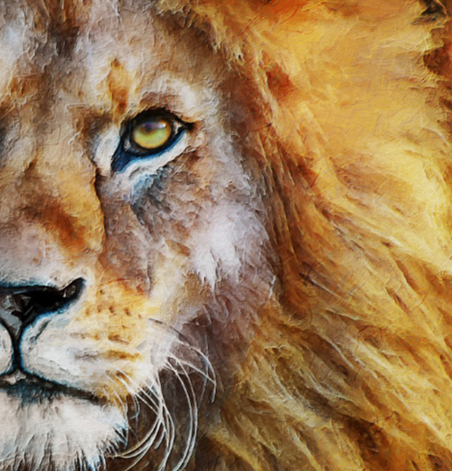 Lion Face Painting - Showing part of the lion painting to show the paintwork and brushstrokes.