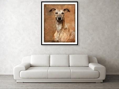Whippet Dog Portrait Painting Framed Print