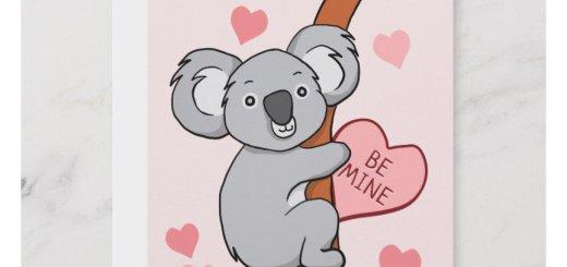 Cute Koala Valentines Day Cards