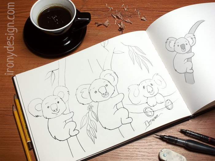 Cute Koala Sketchbook Drawing
