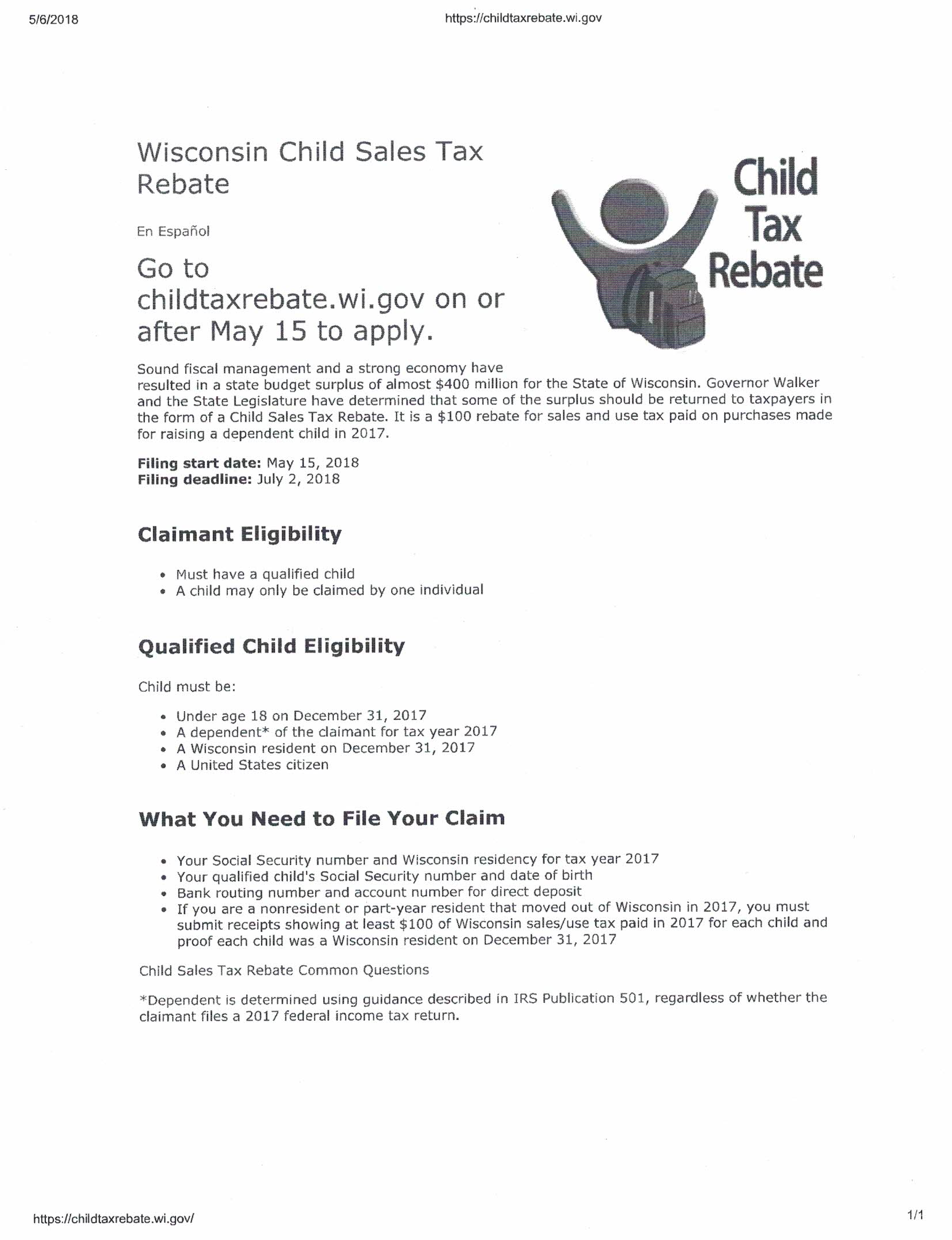 Wisconsin Child Tax Form