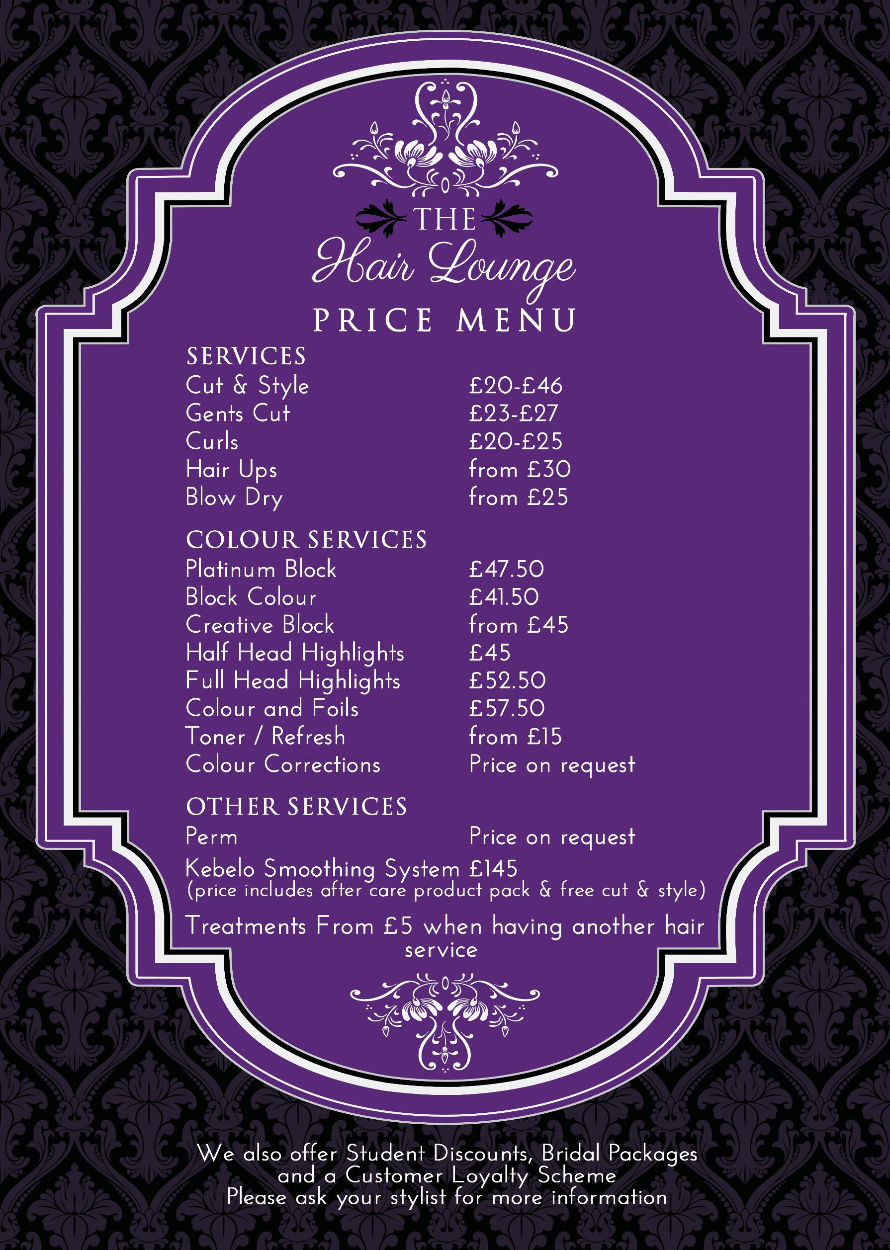 The Hair Lounge Price List