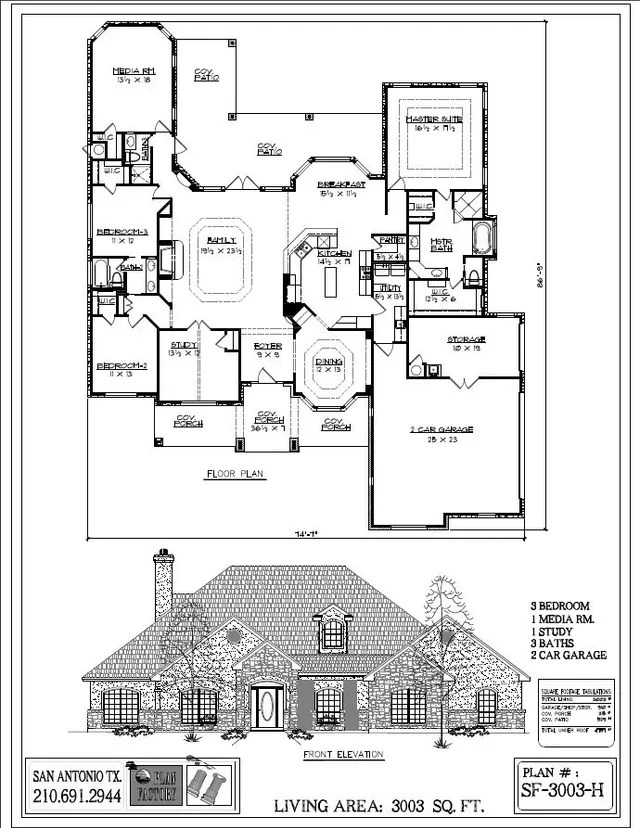 Single Level Plans 3,000 To 3,999 Sq. Ft. by Plan Factory