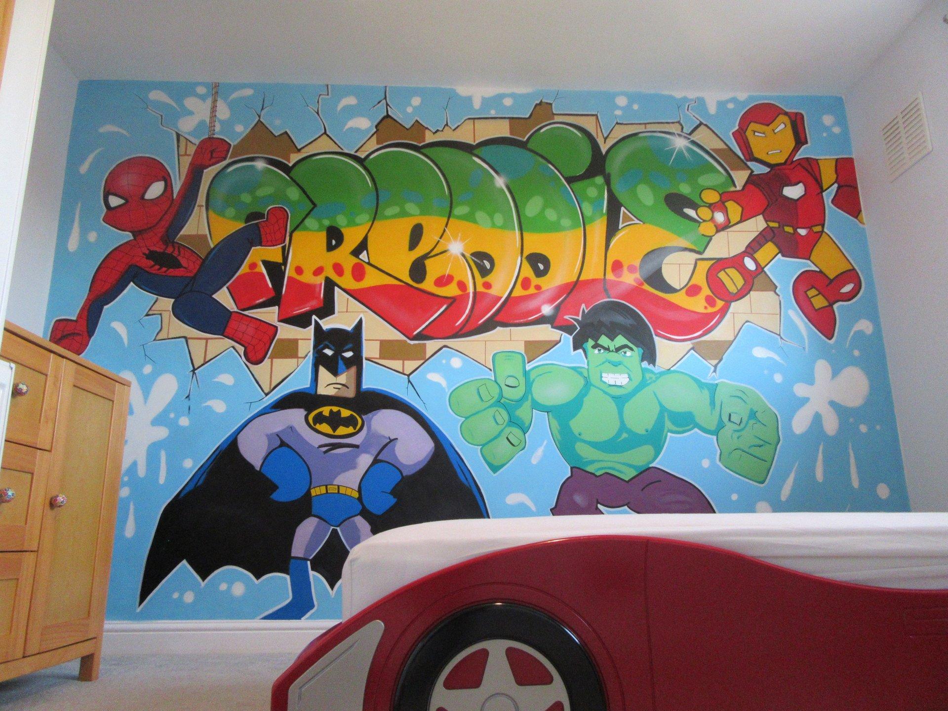 Bedroom Wall Graffiti Murals