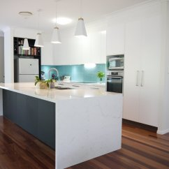 White Kitchen Bench Cherry Wood Cabinets Photos Kitchens Sunshine Coast Cabinetry Solutions With Its Satin 2pac And A Nikpol Perfect Sense Black Feature This Freshly Renovated Is The Heart Of Family S Home