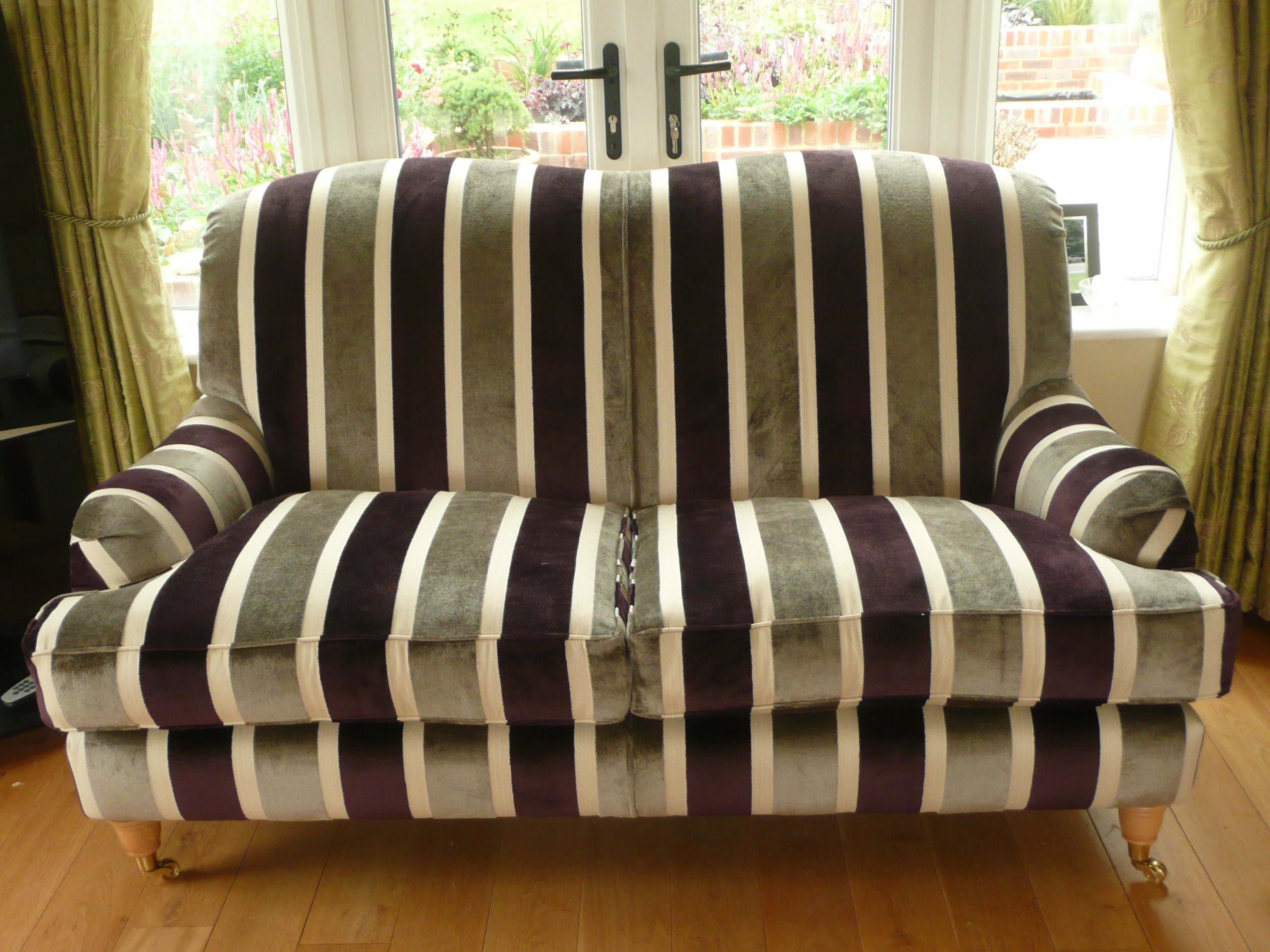 striped fabric sofas uk extra wall sofa living divani upholstery services across reading