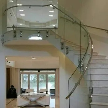 Spiral Staircases Curved Glass Creations   Glass Panel Stair Railing   Toughened   Square   Framed Glass   Staircase   Banister