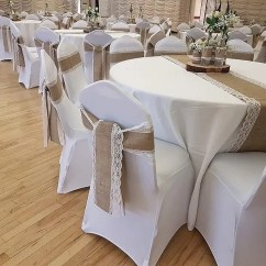 Wedding Chair Cover Hire Bedford Counter Height Chairs Cheap Covers From Olive Events With Hessian And Lace Sashes Attached