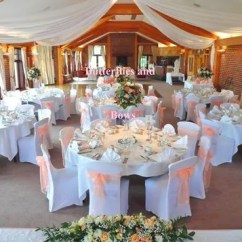 Chair Cover Hire Croydon Modern Aluminum Wedding Styling Venue Lingfield Surrey Pretty Peach Colour Theme With Covers Bows Ceiling Drapes And Flower Arrangements