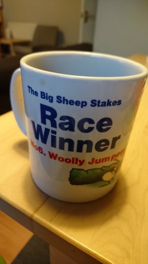 Our winners mug from the Big Sheep in Devon