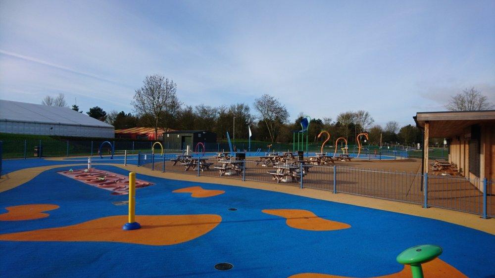 The splash park at Willen lake