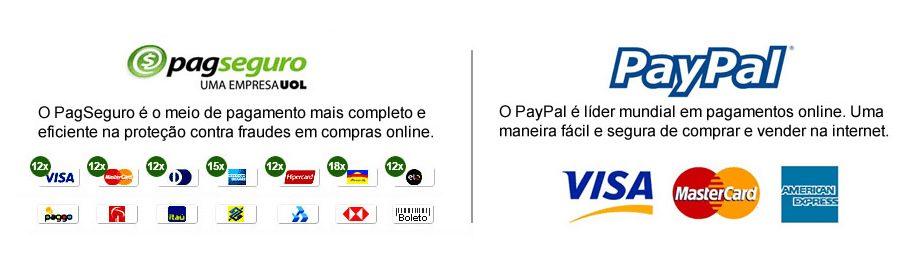 Aceitamos PagSeguro, Paypal, pagamento parcelado, boleto bancário, principais cartões de crédito, depósito direto em conta corrente, visa, mastercard, american express