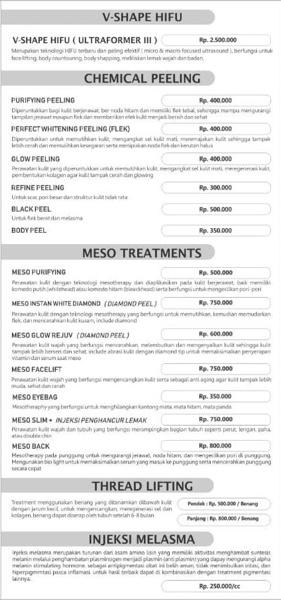 Daftar harga treatment di MS Glow