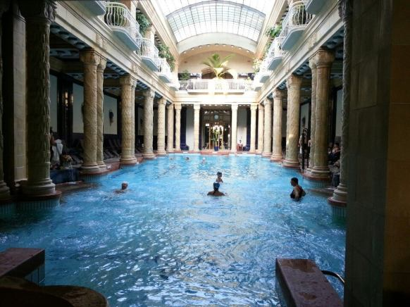 The columned Roman-style swimming pool of Budapest's Gellert Baths