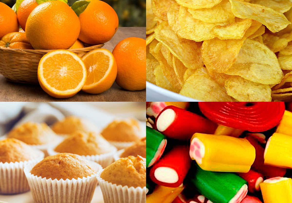 tipología productos para el envasado vertical: golosinas, magdalenas desayuno, naranjs y hortofrutícolas, patatas t snacks