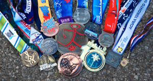 Lots and lots of running medals