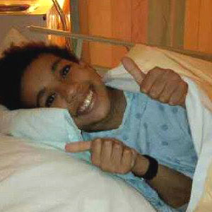 13-year old Tyrel Thomson stays in good spirits