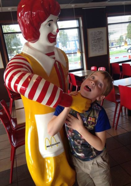 Image result for Ronald mcdonald strangling customer