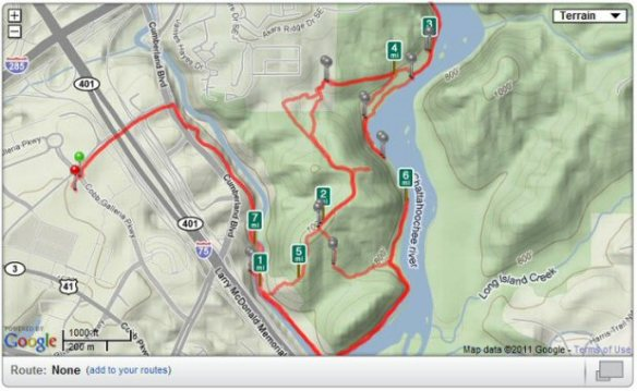 West Palisades trail network in the Chattahoochee National Recreational Area