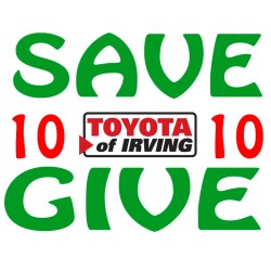 Toyota of Irving Save 10 Give 10 logo