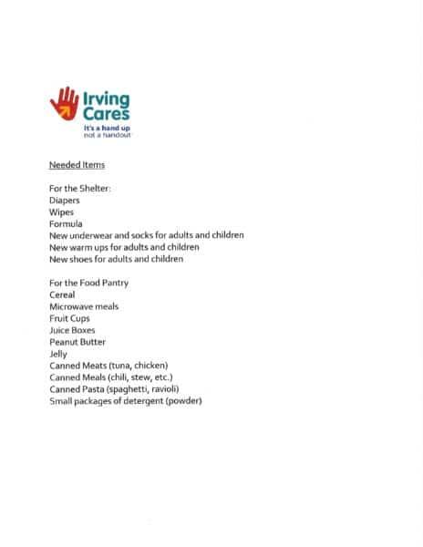 List of items needed Hurricane Evacuees on 082917