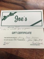Joe's Gift Certificate for a pie a month for six months