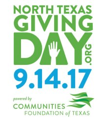 Go to www.NorthTexasGivingDay.org to donate on 09/14/17