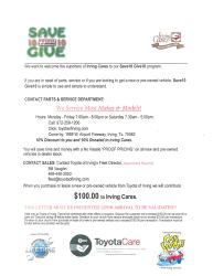 Toyota of Irving Save 10 Give 10 Flyer