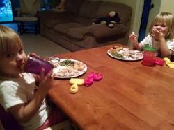 Children eating dinner