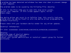 Virtual Machine Blue Screen of Death