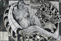 cupido y pensamiento-xilografia-80cm x 120cm-2012