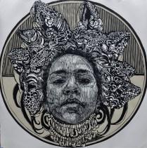 EL CANTO, Xilografia, 120cm x 120cm, 2014
