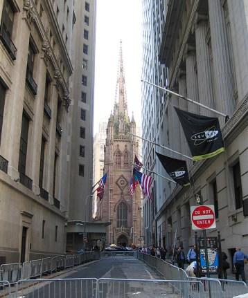 new-york-Wallstreet mit Trinitychurch 2003