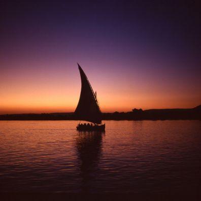 Ägypten Nil Segelboot Abenddämmerung