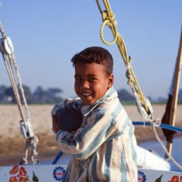 Ägypten Nil Segelboot Junge