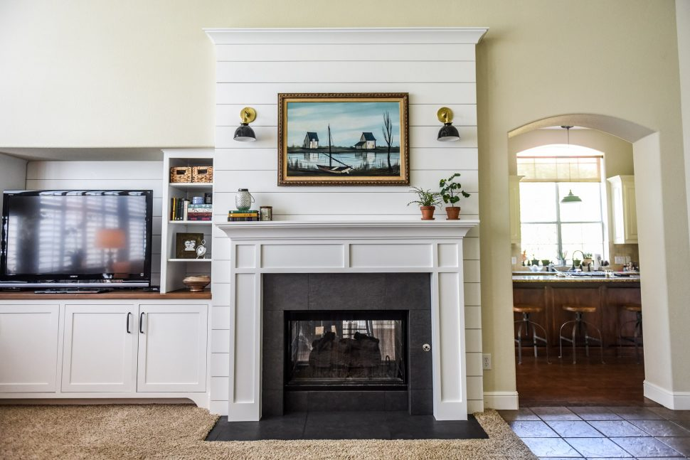 White Painted Fireplace Brick Double-sided Fireplace Before & After