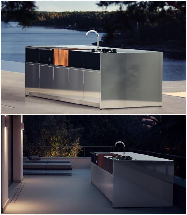 Cocina de exterior con 5 mdulos en acero inoxidable y madera de teca
