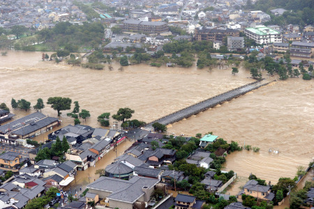 渡月橋 洪水