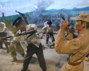 韓国 戦争博物館 学徒兵と北朝鮮軍との戦闘のジオラマ