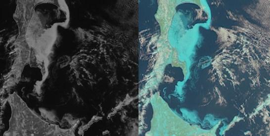 ひまわり8号・流氷の観測画像