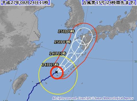 2015年台風15号・進路予報
