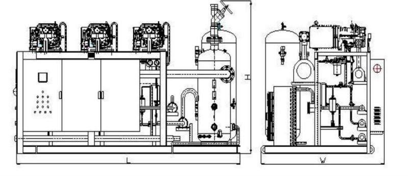 Low Temperature Semi-hermetic Screw Compressor Racks