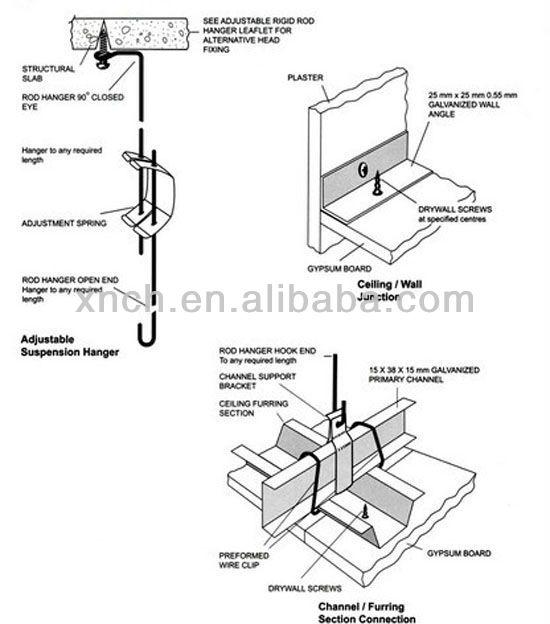 Galvanized Metal Profile For Suspended Ceiling Furring