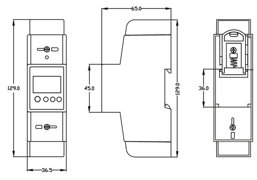 Single phase two module Din rail meter, View Din rail