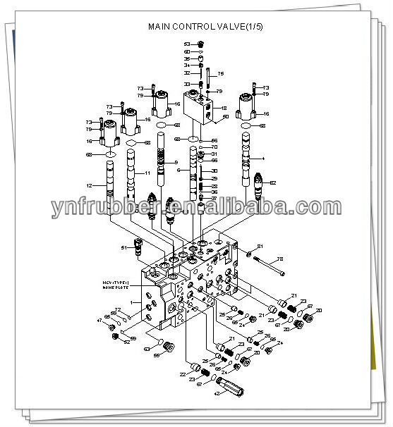 PC200-1 Excavator Main valve assy relief construction