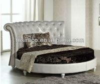 Bisini Modern Furniture,Leather Round Bed,Italian Style