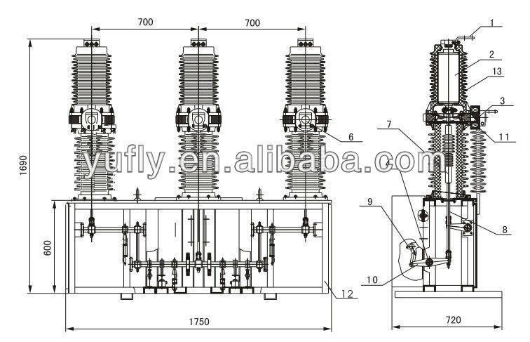 CHZ7-40.5 33kV midium voltage 3 phase outdoor pole mounted