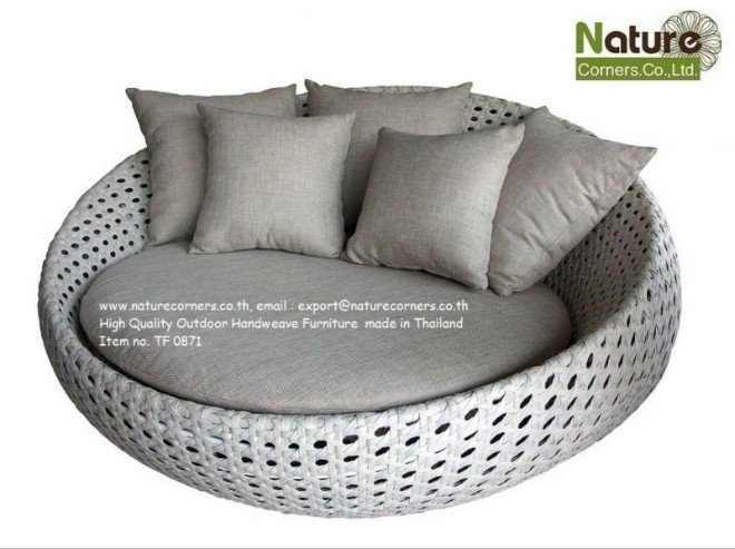 Round Black Modern Synthetic Rattan Wicker Love Chair