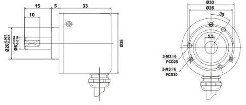 Ghs50 Solid Shaft Encoder Measuring Angle Length Positon