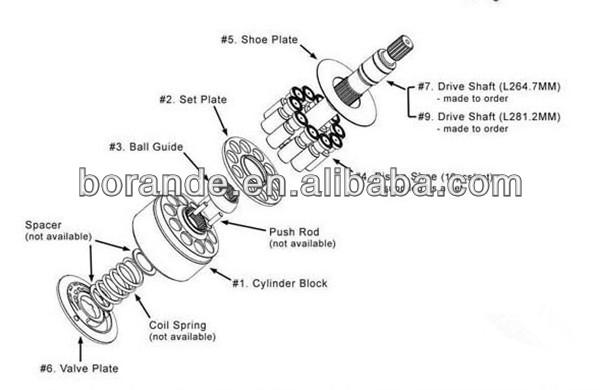Piston Pump Spare Parts For Kobelco Sk60 Excavator Piston